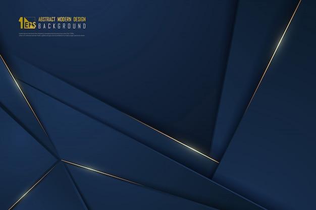 Abstract gradiënt blauw luxe ontwerp van overlappingsmalplaatje met gouden lijnachtergrond. Premium Vector