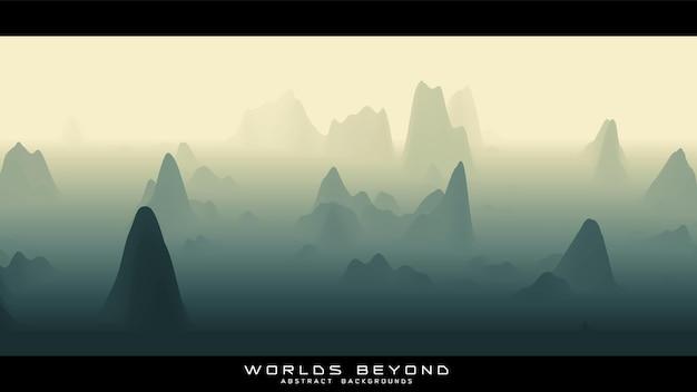 Abstract groen landschap met mistige mist tot horizon over berghellingen.