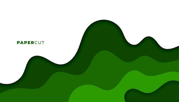 Abstract groen papercut stijl achtergrondontwerp