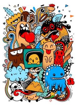 Abstract grunge stedelijk patroon met monsterkarakter, super tekening in graffitistijl