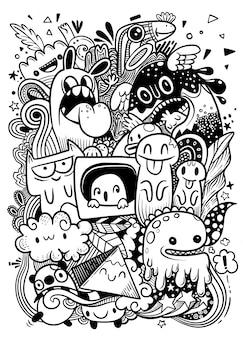 Abstract grunge stedelijk patroon met monsterkarakter