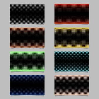 Abstract halftone cirkel patroon visitekaartje achtergrond sjabloon ontwerp set - vector naam kaart illustraties met gekleurde stippen