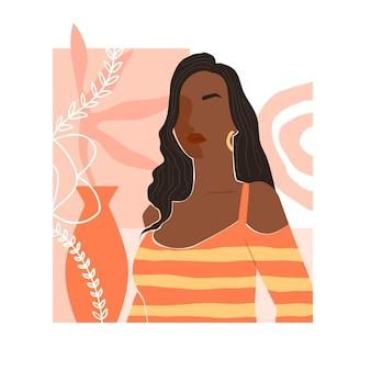 Abstract hand getekend vrouwenportret geïllustreerd