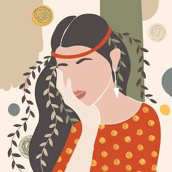 Abstract hand getekend vrouwenportret