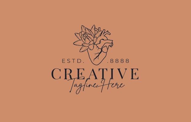 Abstract hart met bloem logo ontwerpsjabloon