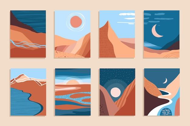 Abstract hedendaags esthetisch landschap, boheemse moderne achtergrond, minimalistisch wanddecor voor posters, banners, lay-outs. vector illustratie.