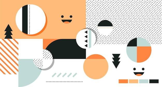 Abstract herfstconcept behang met cirkels en blije gezichten