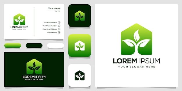 Abstract huis en blad logo ontwerp visitekaartje