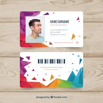 Abstract identiteitskaart-sjabloon met geometrische stijl