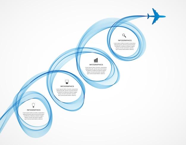 Abstract infographic vliegtuig en golf een blauwe rook.