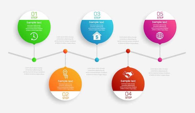 Abstract infographicsmalplaatje met 5 stappen