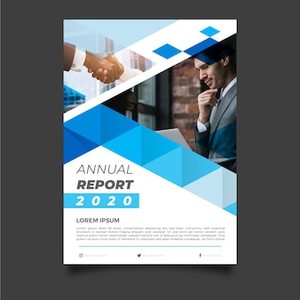 Abstract jaarverslagmalplaatje met zakenman