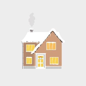 Abstract kerstpictogram met winterhuis. perfecte vakantieillustratie met gezellig huis, huisje. sjabloon voor decoratie, wenskaarten, uitnodigingen. spandoek. vector