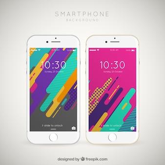 Abstract kleurrijk behang in plat ontwerp voor mobiel