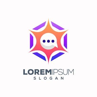 Abstract kleurrijk chat-logo ontwerp