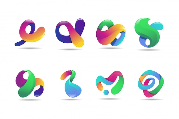 Abstract kleurrijk embleem, 3d modern pictogramconcept