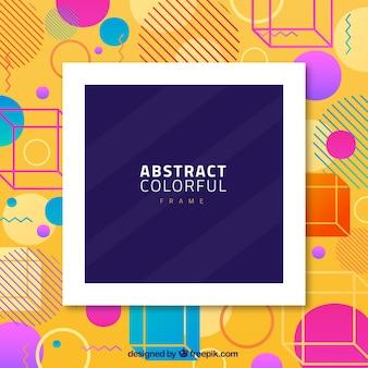 Abstract kleurrijk frame met geometrische vormen