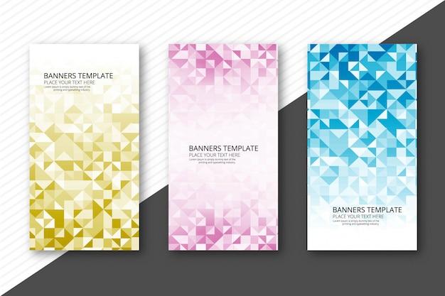 Abstract kleurrijk geometrisch banners geplaatst ontwerp