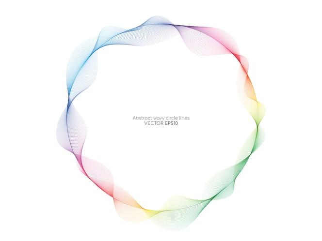 Abstract kleurrijk golvend de lijnenpatroon die van het cirkelkader op witte achtergrond stromen.