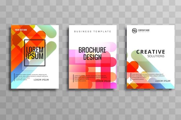 Abstract kleurrijk het malplaatje vastgesteld ontwerp van de bedrijfsbrochurebrochure