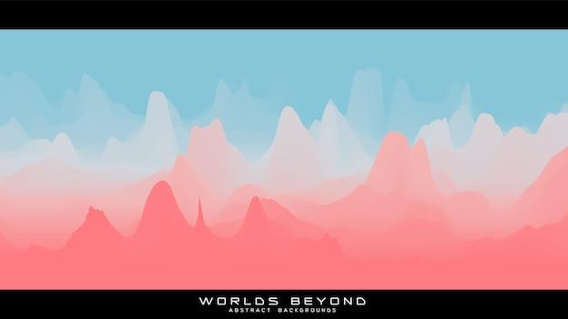 Abstract kleurrijk landschap met mistige mist tot horizon over berghellingen. gradiënt geërodeerd terreinoppervlak.