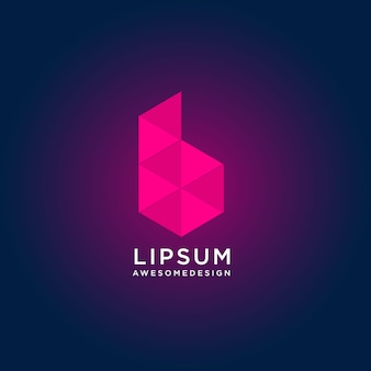 Abstract kleurrijk letter b logo ontwerp met laag poly-stijl