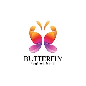 Abstract kleurrijk vlindervleugellogo