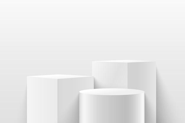 Abstract kubus en rond podium voor prijzen in modern