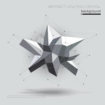 Abstract laag polykristal met verbindingsstructuur op witte achtergrond. kristal geometrisch, structuurvormig kristal, futuristisch polykristal. vector illustratie