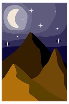 Abstract landschap landschap met bergen hemel en maan voorraad vector abstracte illustratie