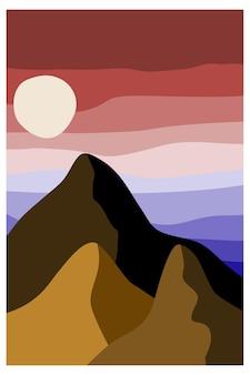 Abstract landschap landschap met bergen hemel voorraad vector abstracte illustratie