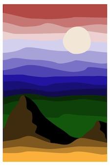 Abstract landschap landschap met bergen lucht en zon voorraad vector abstracte illustratie