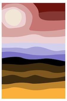 Abstract landschap landschap met heuvels hemel en zon voorraad vector abstracte illustratie