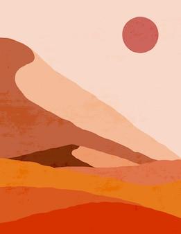 Abstract landschap van bergen en zon in een minimale trendy stijl. boho-kunst. vectorachtergrond in bruine en oranje kleuren voor covers, posters, ansichtkaarten, sociale mediaverhalen.