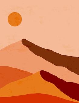 Abstract landschap van bergen en zon in een minimale trendy stijl. vectorachtergrond in bruine en oranje kleuren voor covers, posters, ansichtkaarten, sociale mediaverhalen. boho kunst wordt afgedrukt.