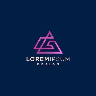 Abstract letter g lijn logo met driehoekige vorm