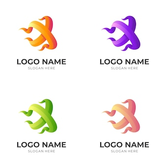 Abstract letter x-logo, ontwerp met 3d-kleurrijke stijl