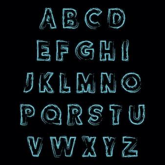 Abstract lettertype met hand getrokken textuur vector