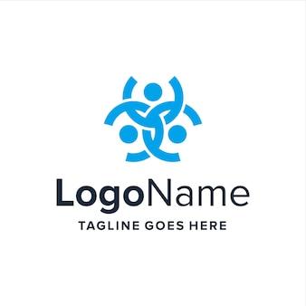 Abstract leven van drie mensen verbinden eenvoudig creatief geometrisch strak modern logo-ontwerp