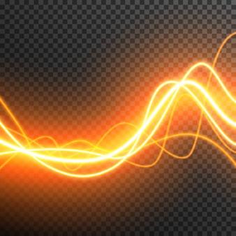 Abstract lichteffect gloeiende golven vector transparant