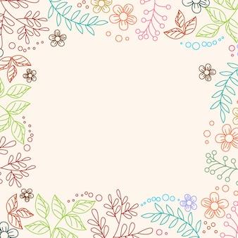 Abstract line art bloem frame ornament