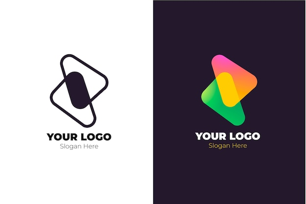 Abstract logo in twee versies concept