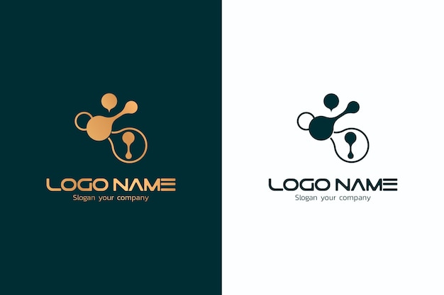 Abstract logo in twee versies ontwerp