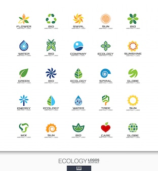 Abstract logo set voor bedrijf. huisstijlelementen. , ecologie plant, bio natuur, boom, bloem concepten. milieu, groen, recycle logo collectie. kleurrijke pictogrammen