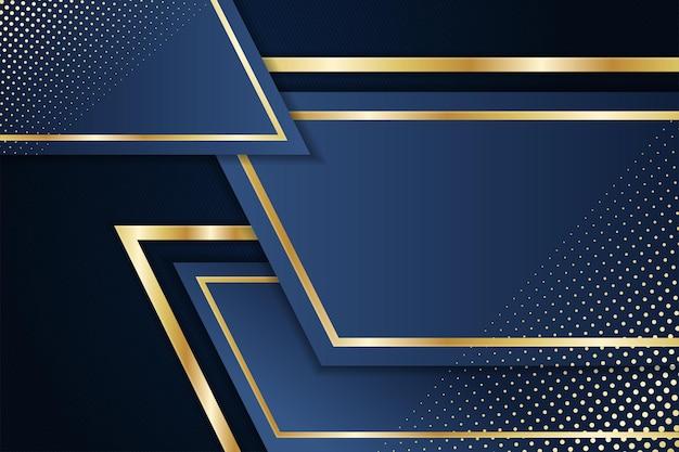 Abstract luxe achtergrond sjabloonontwerp gebruik blauwe gradiënt gecombineerd met gouden elementen