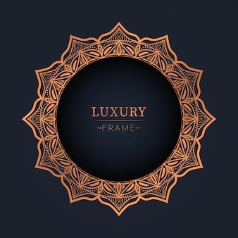 Abstract luxe frame achtergrondontwerp in bronzen kleur premium vector