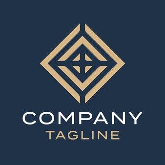 Abstract luxe vierkant diamantlijn gouden logo-ontwerp