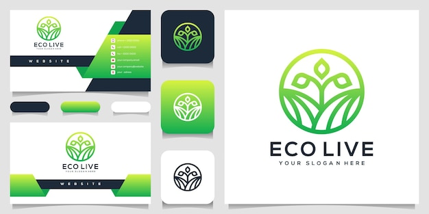 Abstract mensen blad logo ontwerp visitekaartje