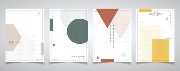 Abstract minimaal ontwerp van geometrie met halftoon ontwerpset brochure.