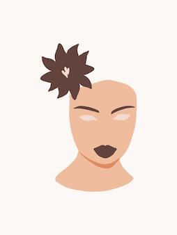 Abstract minimalistisch vrouwengezicht met bloem moderne modeposter